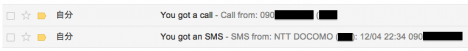 SMS2Gmail 転送イメージ